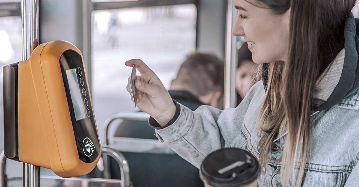 Manufacturer asset touchless payment terminal in bus